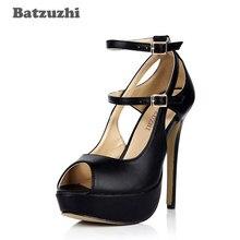 21842e544c82 Batzuzhi 2018 Fashion Women Shoes High Heel 14cm Black Leather Pumps  Platform Shoes Women for Party Open Toe Zapato Mujer
