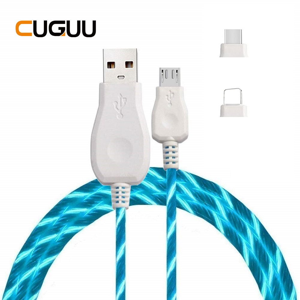 LED Luminous USB Charging Cable For Samsung Type C Micro Fast iPhone Lightning Huawei Xiaomi Data