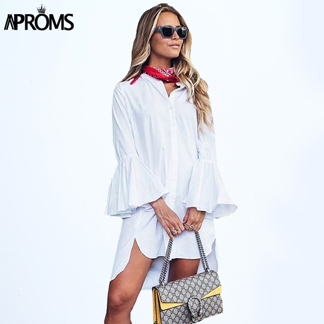 Aproms street fashion Solid long blouse woman Casual Loose Tunic Shirt White Tops for Women clothing vestidos