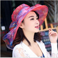 Women's beach hats Caps 2017Summer Fashion chiffon Voile Uv protection Sun Hats Casual Ladies sombreros Voile flowers hat Ladies