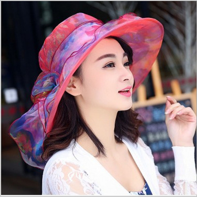 d252b02a Women's beach hats Caps 2017Summer Fashion chiffon Voile Uv protection Sun  Hats Casual Ladies sombreros Voile