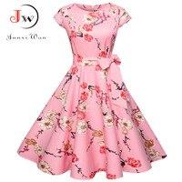Для женщин летнее платье с цветочным рисунком 50 s Винтаж Повседневное элегантное платье с круглым вырезом и принтом вечерние работы деловая...