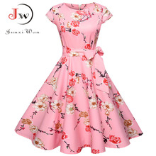 Women Summer Floral Dress 50s Vintage Casual Elegant Print O Neck Party Work Office Dress Retro Rockabilly Vestidos