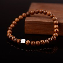Oiquei 6mm de madeira natural budista oração buda pulseira homem hommes metal contas geométricas pulseira elástica encantos jóias presentes