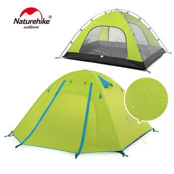 c140d52ce7 Naturehike peso ligero 3 personas 210 T tela de aluminio poste turismo  playa tienda de campaña con alfombra inferior