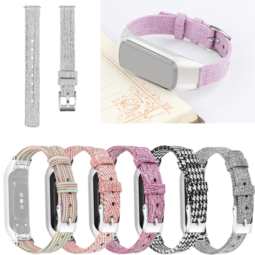Watch-Strap Canvas Replacement R375 Galaxy Samsung for Metal-Frame Fit-E New
