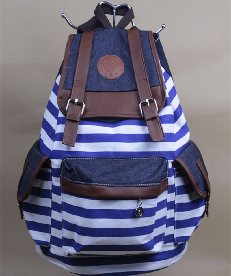 Women Girl Cheap Products Striped Canvas Backpack Leisure ...