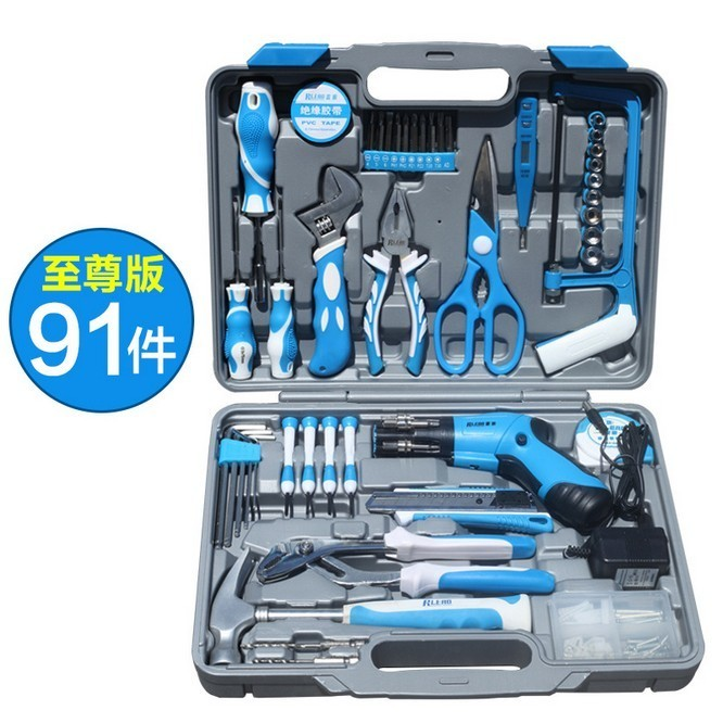 91 PCS Multifunctional Tool Kit Hardware Home Kit Woodworker Metal Produce DIY Tools Including Drill Sets Electrical Tools