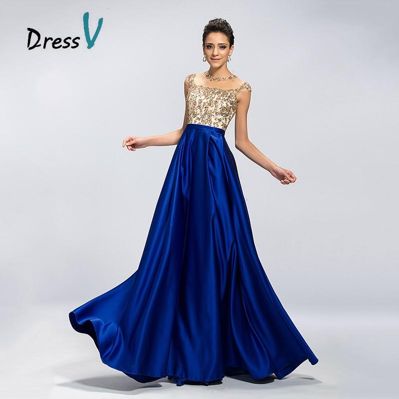 ღ ღDressv Long Royal Blue Evening Dress Elegant A-Line Sheer Jewel ...