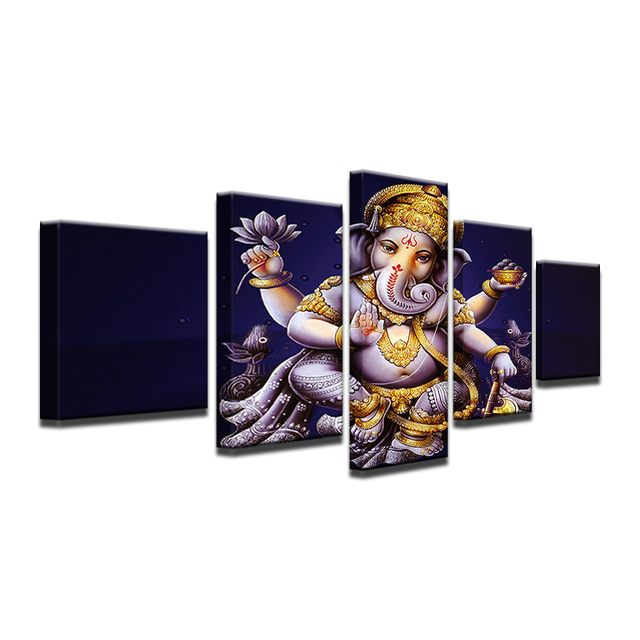 Modern Canvas Home Decor Frame Abstract Painting Wall Art Prints 5 Pieces India Ganesha Pictures Elephant Head God Poster PENGDA