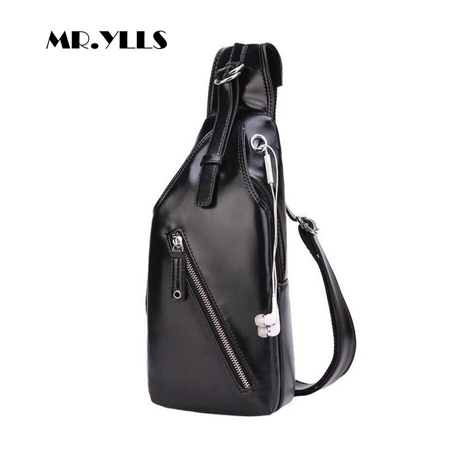 MR.YLLS Waterproof Shoulder Bags Men Business Style Chest Bag Male Earphone Port Pu Leather Messenger Bag Men Fashion Bolsa 2017