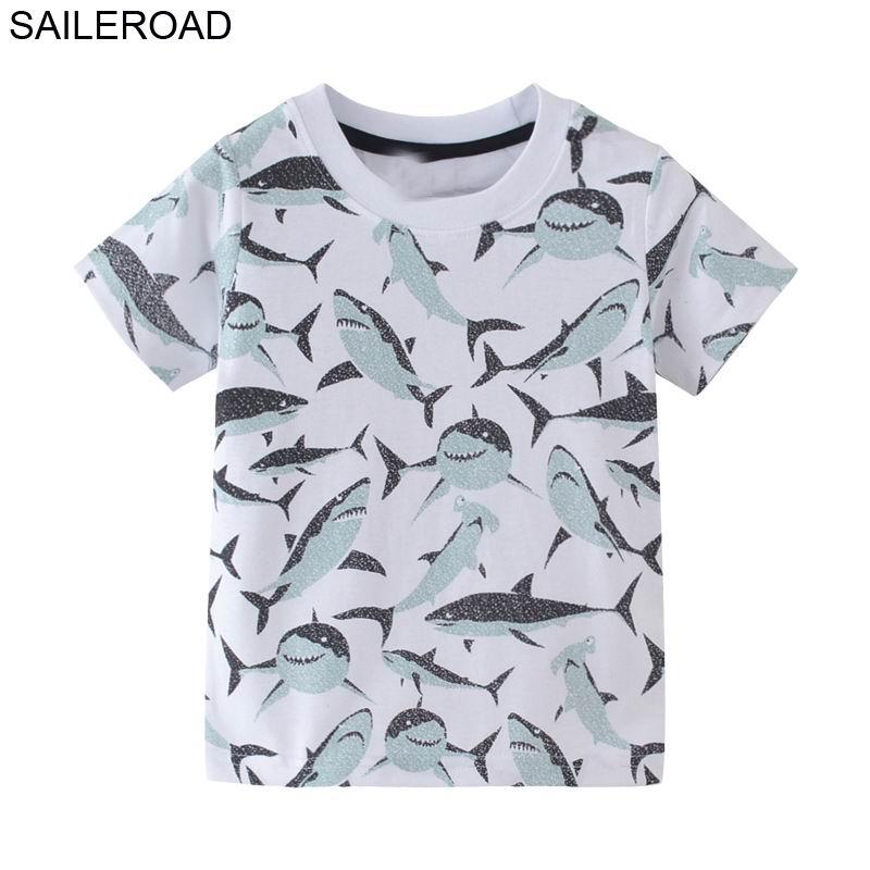 SAILEROAD 2-7T Cartoon Animal Shark Baby Boy Tshirt for Children's Shirts for Kids Boy's Tops Tees Clothing 2018 Kid T Shirts женская футболка other t tshirt 2015 blusas femininas women tops 1