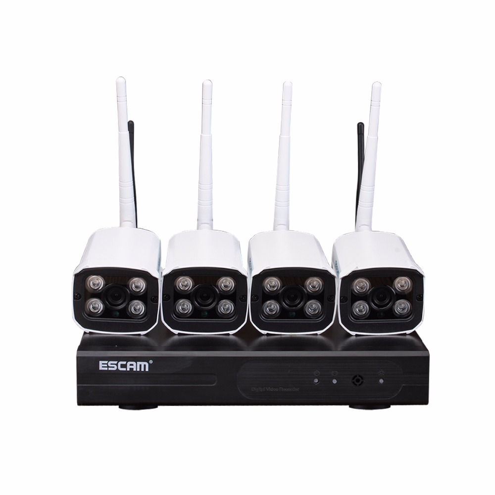 Escam WNK403 4CH Wifi NVR KIT 720P IP Bullut Wireless Camera Set 3.6mm Outdoor IR Night Vision CCTV Home Security System