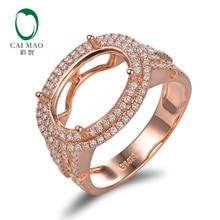 Caimao 9x13mm Oval Cut Semi Mount Setting Ring 14K Rose gold Natural 0.6ct Diamond Engagement Jewelry