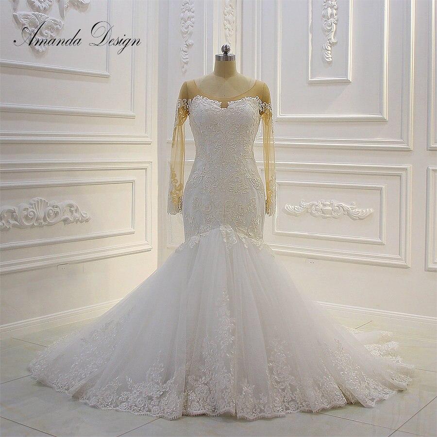 US $19.19 19% OFFAmanda Design hochzeitskleid Lace Applique Mermaid  Wedding Dress Long Sleeve 19Wedding Dresses - AliExpress