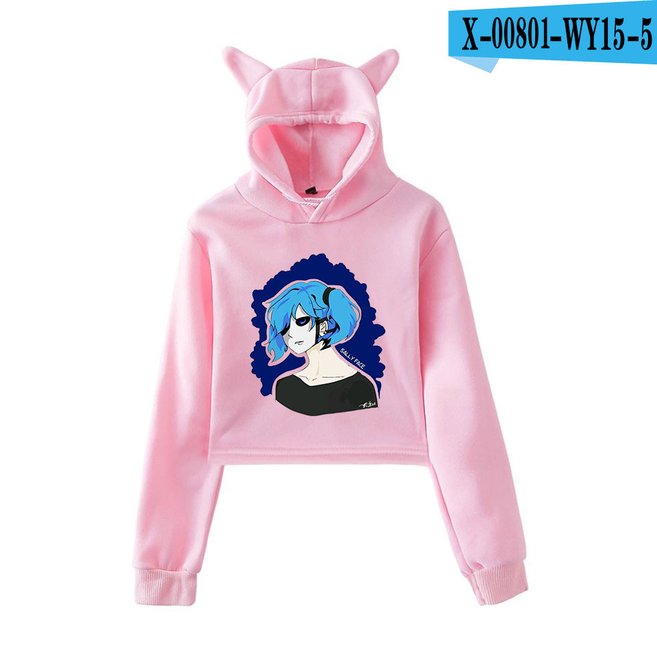 Sally Face Cat Ear Hoodies Women Long Sleeve Fashion Printed Hooded Sweatshirts 2019 New Arrival Hot Sale Casual Girls Sexy Wear