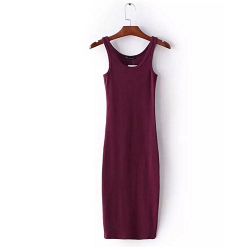 Сексуальное стрейчевое платье миди без рукавов с круглым вырезом; Новинка 2016 года; Женское винтажное платье на бретельках; 4 вида цветов