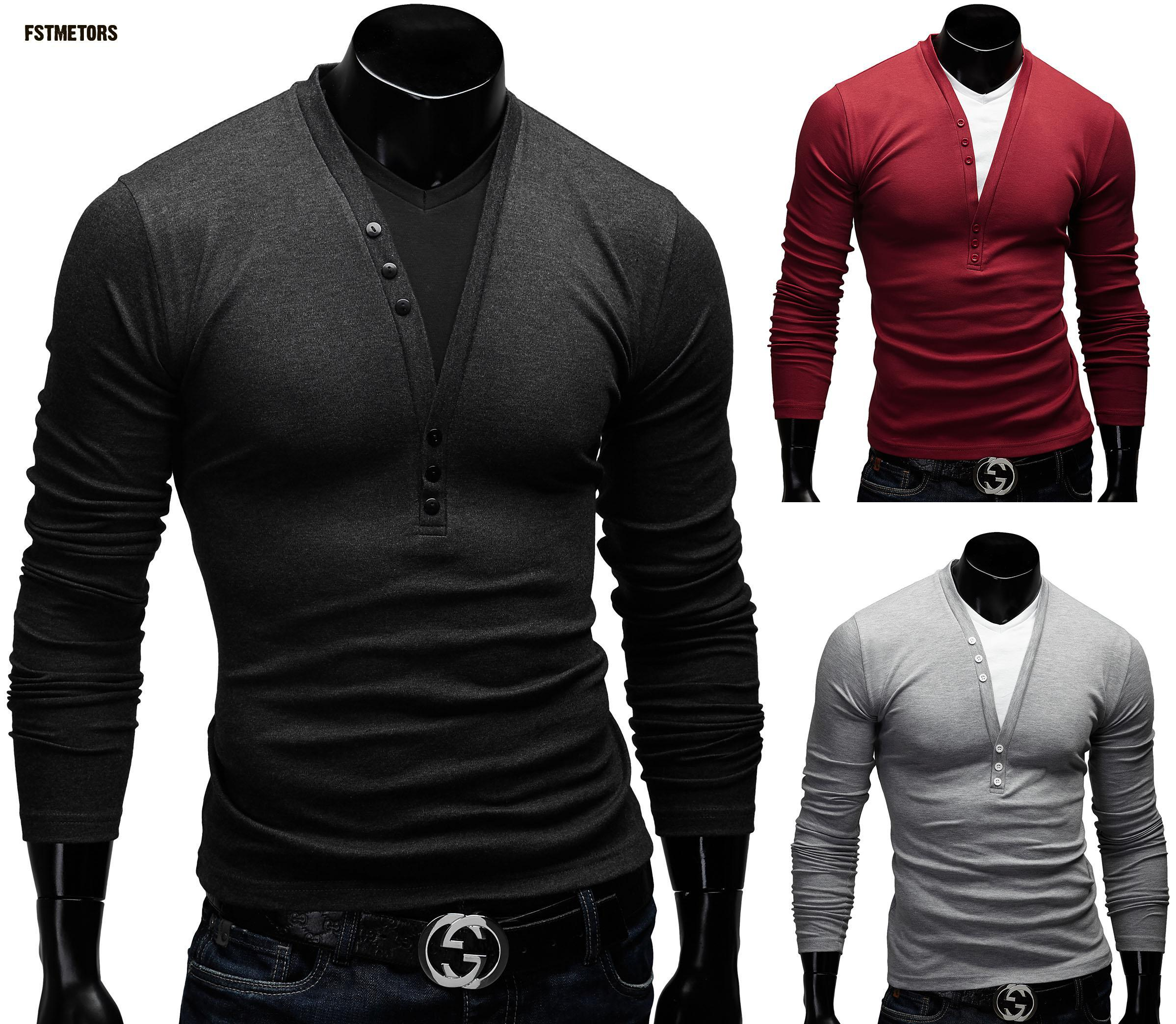 The new 2018 autumn fashion deep V man T-shirt pure color