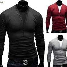 The new 2018 autumn fashion deep V man T shirt pure color cultivate one s morality