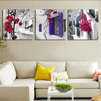 3 Piece Canvas Wall Art Painting Street Window Flowers Home Decorative Art Picture Print Posters For