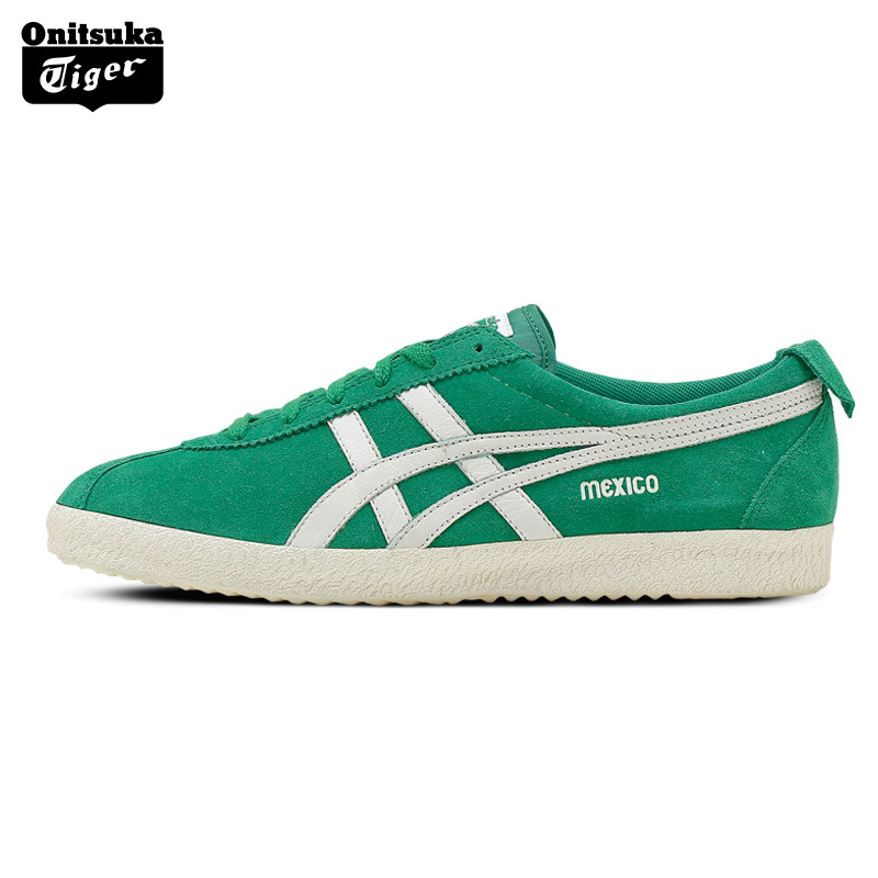 2017 ONITSUKA TIGER MEXICO Retro Men Walking Shoes Classical Sport Shoes Light Weight Leather Women's Shoes Green Color D639L onitsuka tiger mexico 66 grey dragon fly