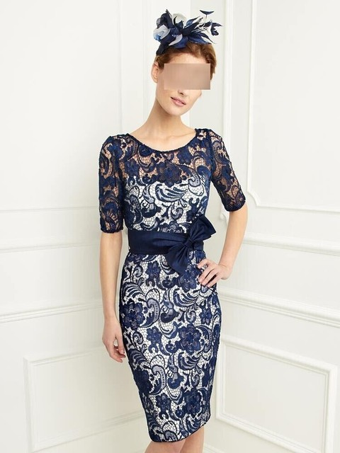 В наличии встроенная колен дешевые синий краткое мать невесты кружева платья с рукавами vestidos festas курто madrinha