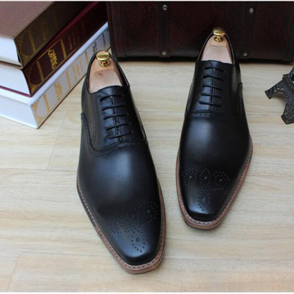 Sipriks Mens Goodyear Welted Dress Shoes Calf Leather Black Oxfords Medallion Brogue Shoes Square Toe Social Suit Gents Shoes 2016 luxury mens goodyear welted oxfords shoes vintage boss brogue shoes italian mens dress shoes elegant mens gents shoes derby
