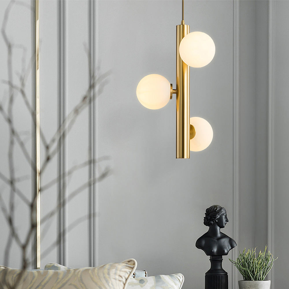 Apextech Modern Cord Pendant light Golden Color Bedroom Haing Lamp Dining Living room Lights Fixture