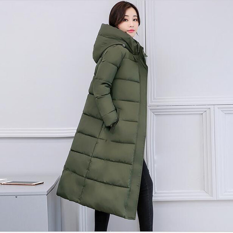 2017 new high quality winter long jacket women Thicken down cotton coat female outerwear Hooded fashion Army Green coats AC208 high quality 2017 free shipping new autumn winter down jacket female cotton women work wear fashion coats black gray green page 9