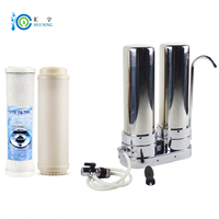 2 Stage 304 Food grade Stainless Steel Water Filter Water Purifier with CTO carbon filter and UF filter for kitchen faucet