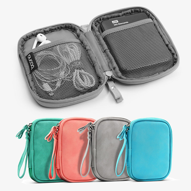 Sheepskin grain Hard Drive Protection Travel Accessories Gray bag Mobile phone USB data cable headset cable storage organization