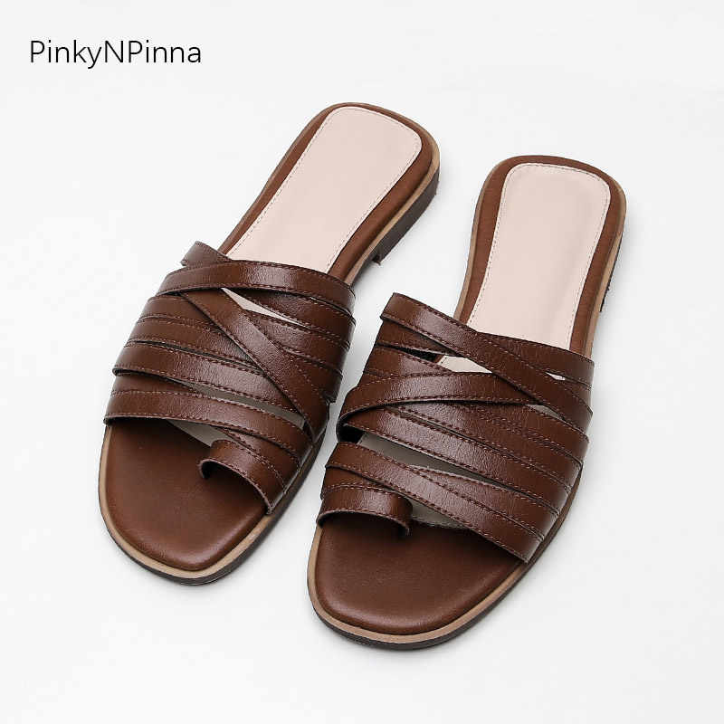 women retro style multi narrow bands slippers genuine leather sheepskin soft flat flip flops big toe strap fashion casual shoes