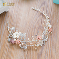 Handmade crystal hairband flower headband pearl jewelry girl party wedding accessories bride headpiece Gifts forehead lr06