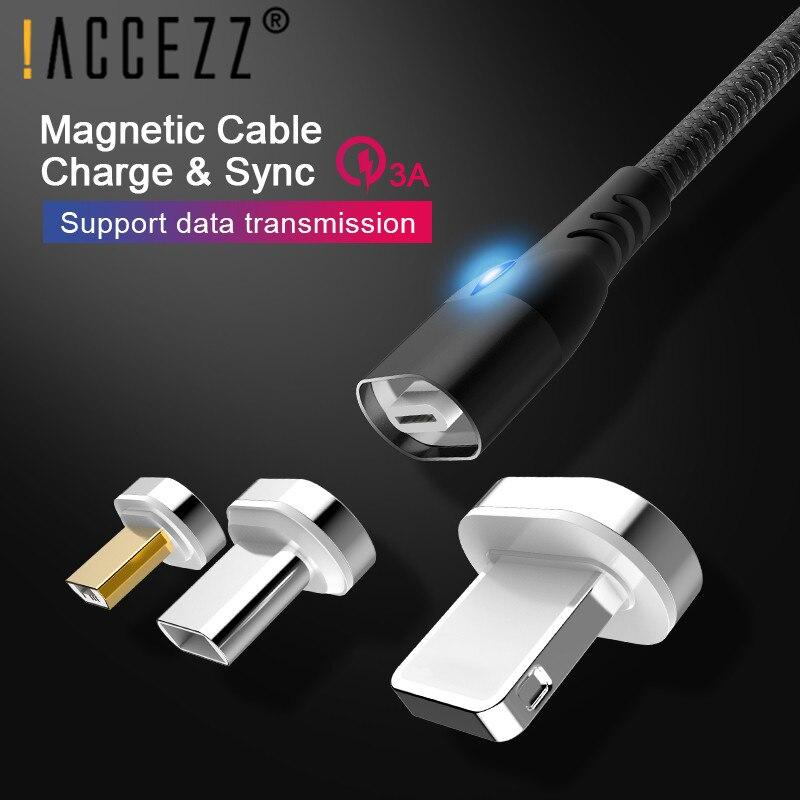 ! Accezz 3a Magnetische Kabel Snel Opladen Gegevens Voor Apple Iphone 6 7 8 Xs X Micro Usb Type-c Magneet Charger Voor Samsung Huawei Htc