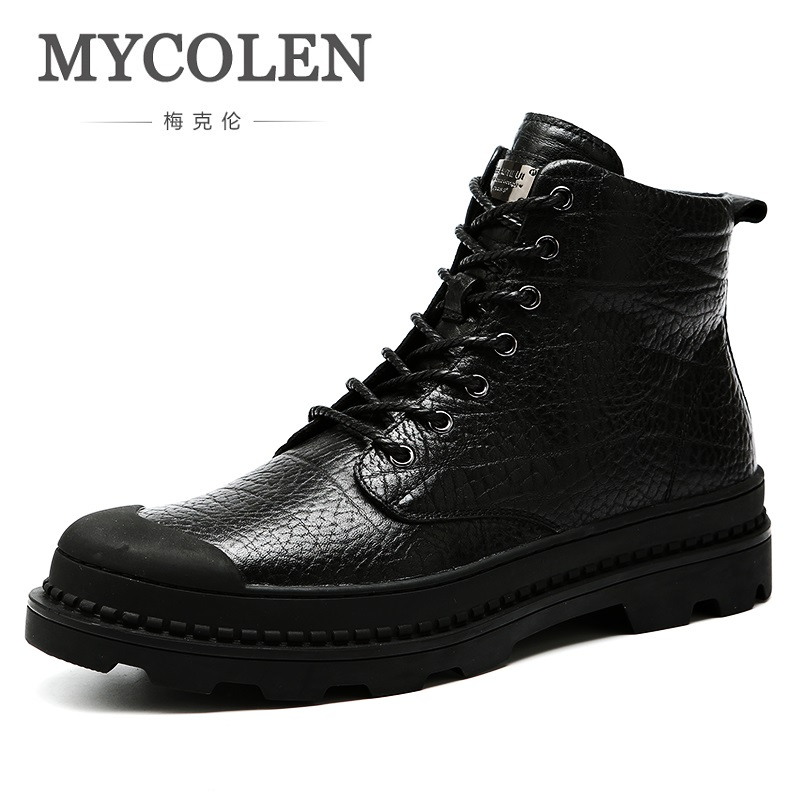 MYCOLEN Autumn/Winter Men High Quality Brand Leather Boots Outdoor Black Brown Warm Cashmere Snow Boots Schoenen MannenMYCOLEN Autumn/Winter Men High Quality Brand Leather Boots Outdoor Black Brown Warm Cashmere Snow Boots Schoenen Mannen