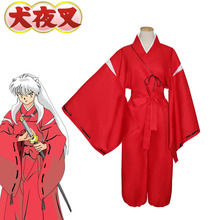 Japanese Classical Anime Inuyasha Cosplay Costume Bright Red Kimono Halloween Party Uniform Full Set