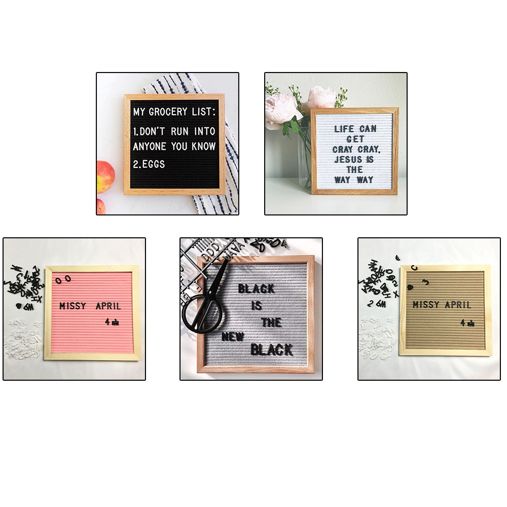 Home White Letters Symbols Decorative Board Oak <font><b>Frame</b></font> Numbers Characters Bag Felt Letter Board <font><b>Sign</b></font> Message Wedding Party image