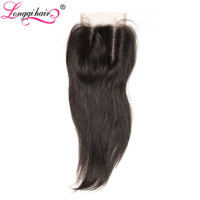 LONGQI HAIR 4x4 Three Part Peruvian Straight Lace Closure 120% Density Non-Remy Hair 10 12 14 16 18 20 Inch 1 Piece Only