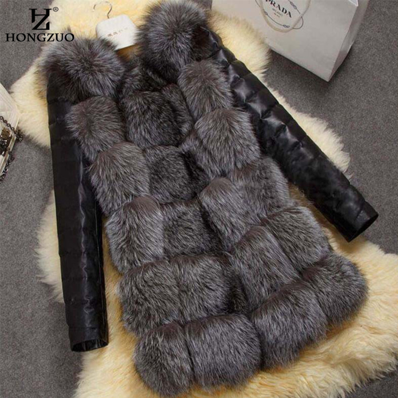 Fashion Winter Coat Women Thick Faux Fox Fur Coat With PU Sleeve Female Fake Fur Jacket Mujer Coat S-4XL