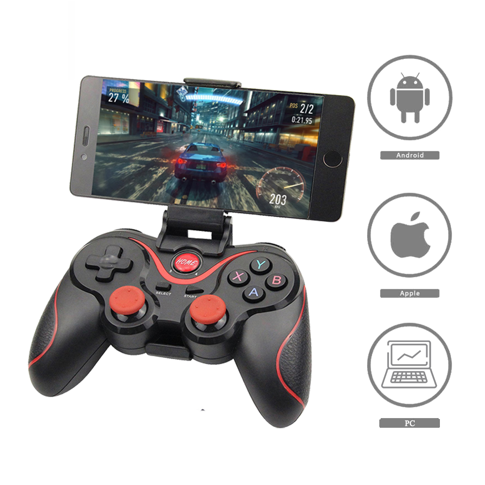 Wholesale Terios t3+ Wireless Joystick Gamepad Game Controller bluetooth BT3.0 Joystick for Mobile Phone + Tablet TV Box Holder