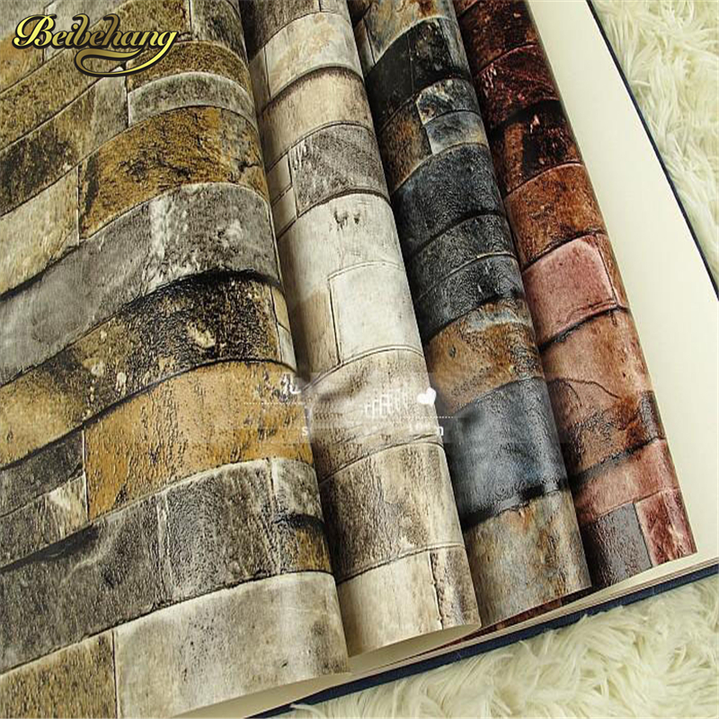 ФОТО beibehang 3D Wall Paper Brick Thicken PVC Stone Wallpapers PVC Vinyl Roll for Walls Vintage papel de parede