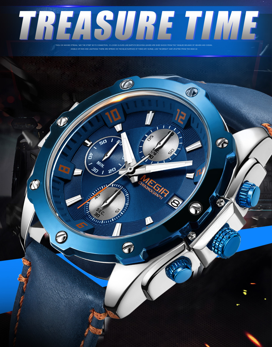 Topdudes.com - MEGIR Blue Leather Strap Business Quartz Chronograph Relogio Masculino Watch