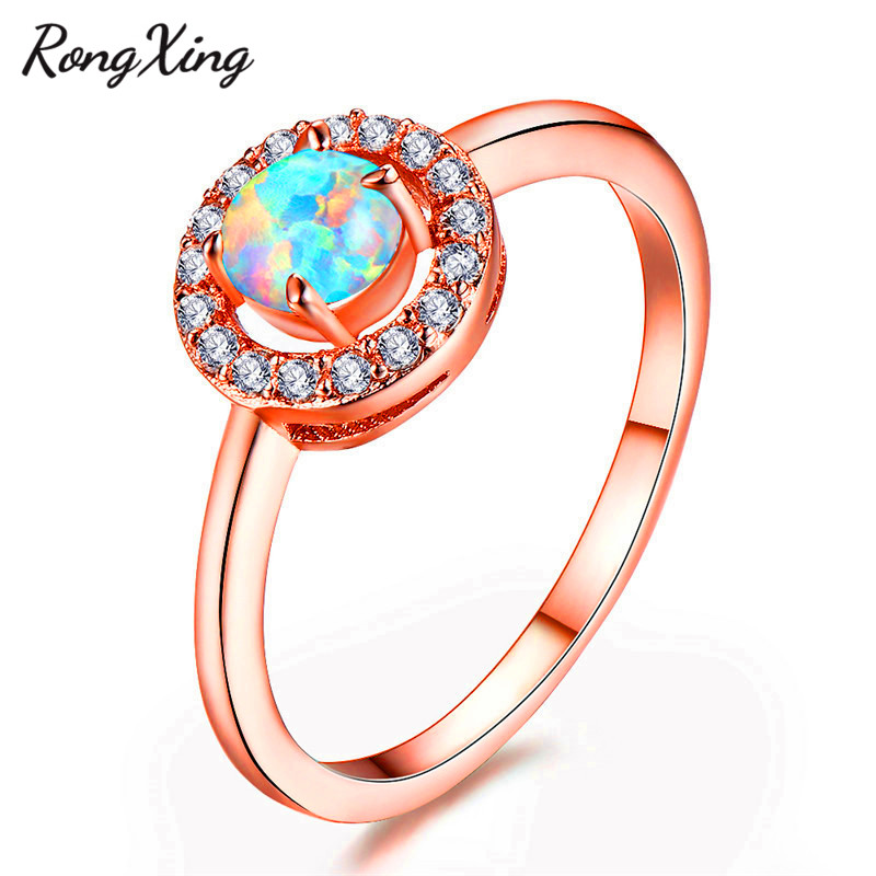 RongXing Small Round Stone WhiteBluePurple Fire Opal Rings For Women Rose Gold Filled Zircon Oct Birthstone Wedding Jewelry
