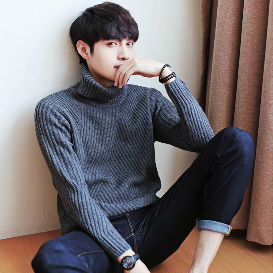 d80028e42 White Black Turtleneck Sweater Men Pullovers Winter Thicken Cashmere Mens  Knitted Jumpers Male Turtle Neck Polo Sweater Pull-in Pullovers from Men s  ...