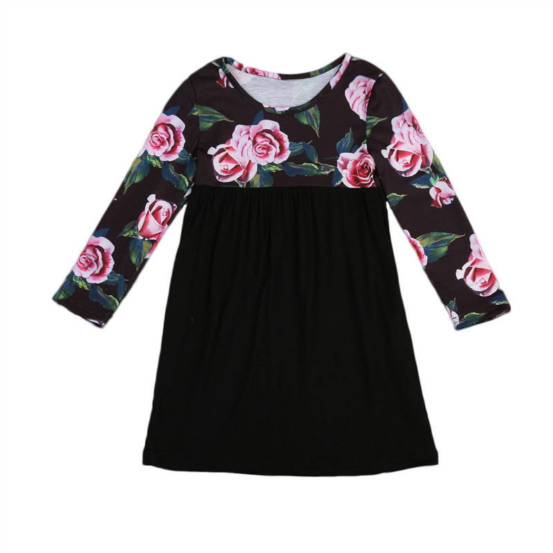 Pudcoco Pretty Girls Dress Lovely Floral Print Long Sleeve Flower Kids Dress Baby Girl Clothes Princess Dresses 2-7Y 2 10yrs girls dress kids princess dress long sleeve baby girl cute palace style blue and white floral embroidery spring 2017 new