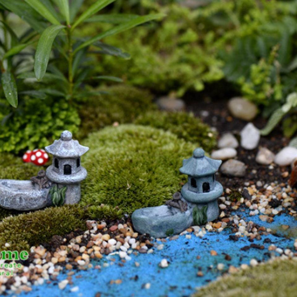 SOLEDI Figurines Mini Pond Tower Lifelike Courtyard Micro Landscape Garden  Bonsai Lawn Decor DIY Toys