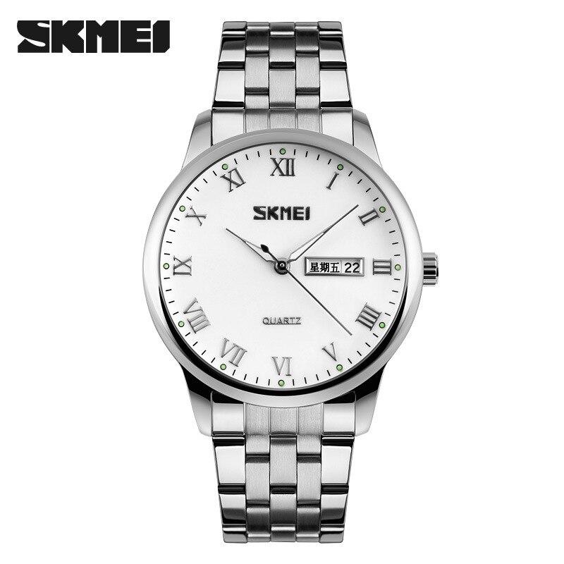 New fashion auto date men quartz watch week display wristwatch luxury silver big dial round stainless steel male business watch