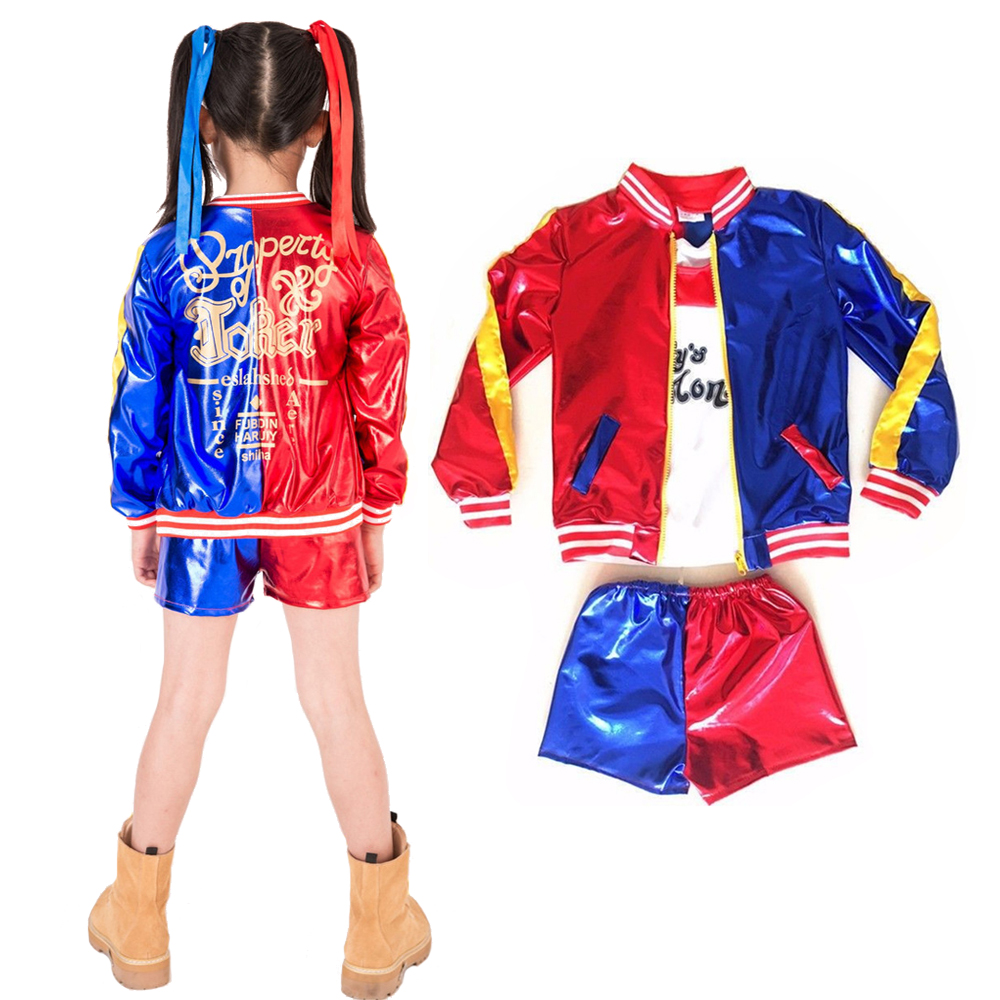 2018 Girls Suicide Squad Costume Harley Quinn Coat Shorts Top Set Halloween Cosplay Costume Suit For Kids
