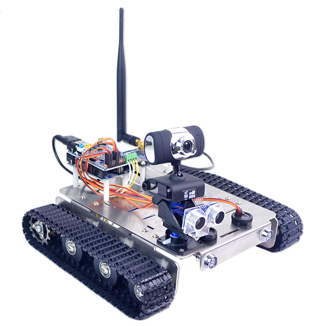 DIY Robot Wifi+Bluetooth Stainless Steel Chassis Track Tank Steam Educational Car With Graphic Programming XR BLOCK Linux