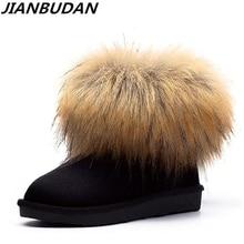 цена на JIANBUDAN brand design Genuine Leather Women's snow boots Artificial Fox hair winter warm Fur boots lady cowhide Plush boots